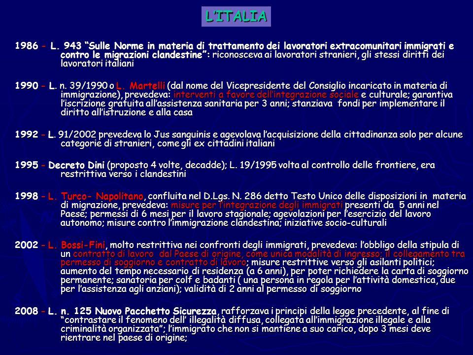 1986 - L. 943 Sulle Norme in materia di trattamento dei lavoratori extracomunitari immigrati e contro le migrazioni clandestine: riconosceva ai lavora