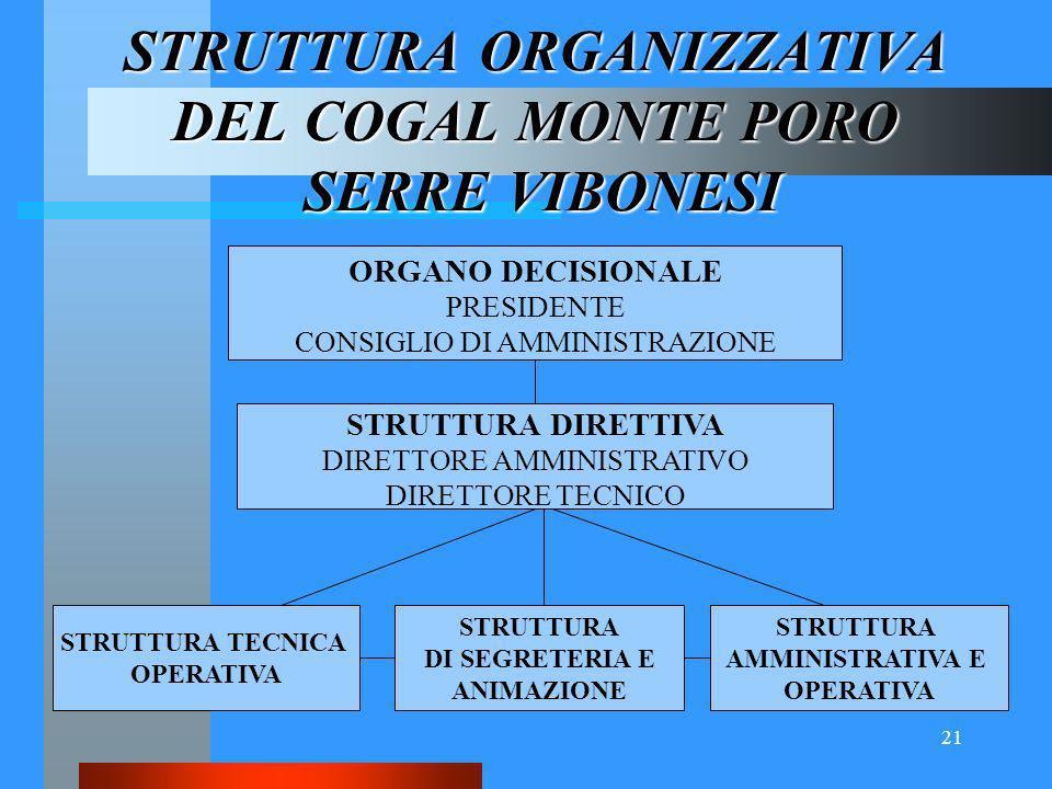 21 STRUTTURA ORGANIZZATIVA DEL COGAL MONTE PORO SERRE VIBONESI ORGANO DECISIONALE PRESIDENTE CONSIGLIO DI AMMINISTRAZIONE STRUTTURA DIRETTIVA DIRETTORE AMMINISTRATIVO DIRETTORE TECNICO STRUTTURA TECNICA OPERATIVA STRUTTURA DI SEGRETERIA E ANIMAZIONE STRUTTURA AMMINISTRATIVA E OPERATIVA