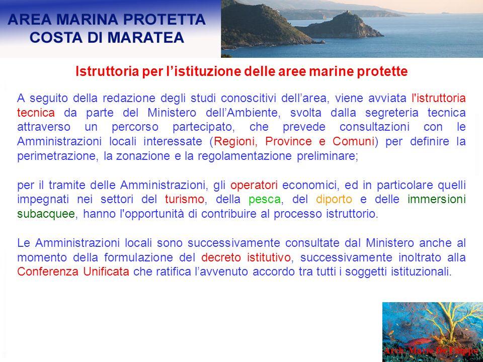 Istruttoria per listituzione delle aree marine protette A seguito della redazione degli studi conoscitivi dellarea, viene avviata l'istruttoria tecnic