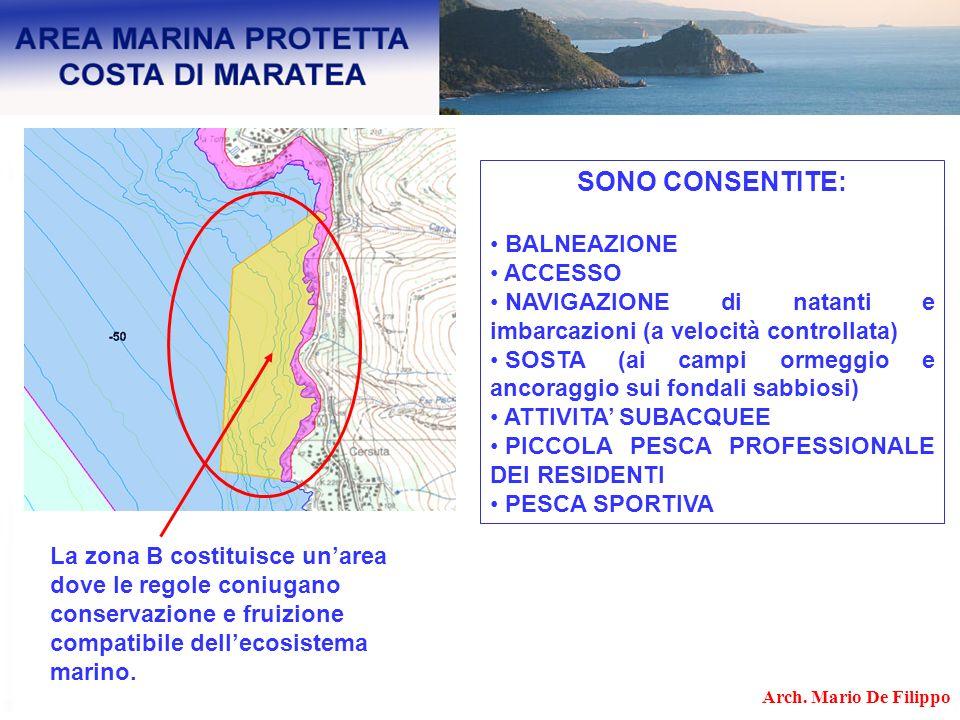La zona B costituisce unarea dove le regole coniugano conservazione e fruizione compatibile dellecosistema marino. SONO CONSENTITE: BALNEAZIONE ACCESS