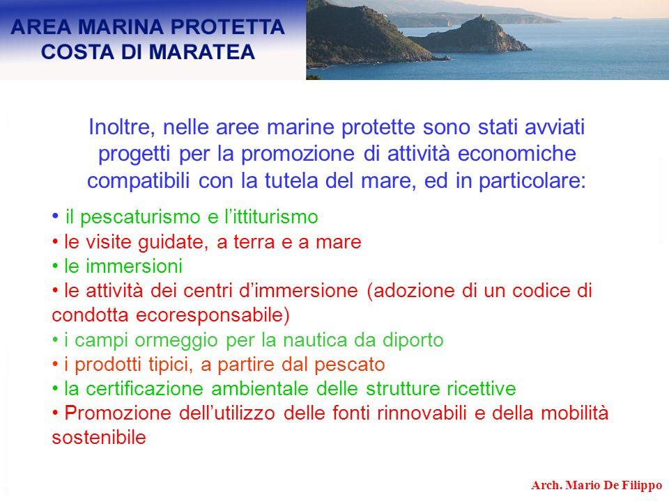 Inoltre, nelle aree marine protette sono stati avviati progetti per la promozione di attività economiche compatibili con la tutela del mare, ed in par