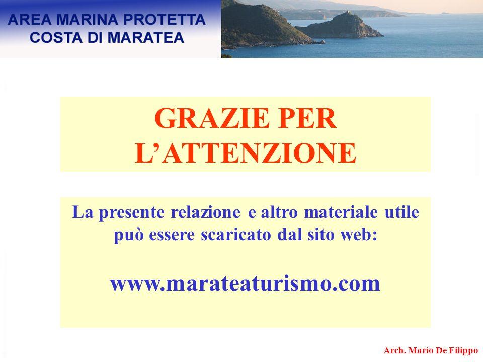 GRAZIE PER LATTENZIONE La presente relazione e altro materiale utile può essere scaricato dal sito web: www.marateaturismo.com Arch. Mario De Filippo