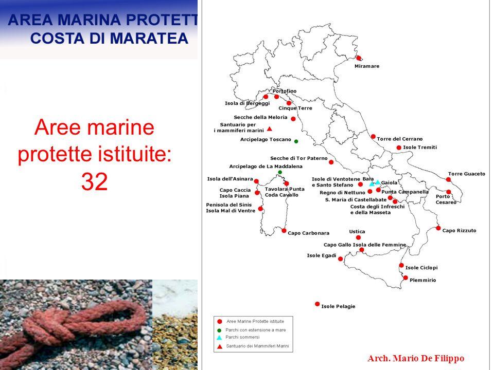Aree marine protette in corso di istituzione (su richiesta delle realtà locali): 17 Arch.