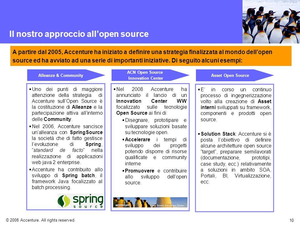 © 2008 Accenture. All rights reserved. 10 Il nostro approccio allopen source Uno dei punti di maggiore attenzione della strategia di Accenture sullOpe