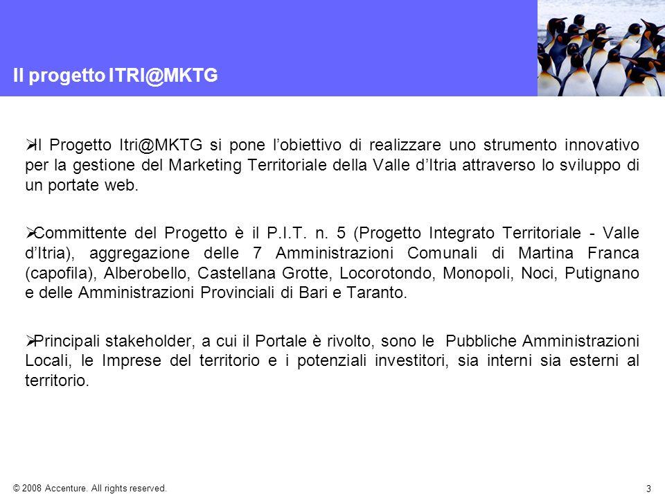 © 2008 Accenture. All rights reserved. 3 Il progetto ITRI@MKTG Il Progetto Itri@MKTG si pone lobiettivo di realizzare uno strumento innovativo per la