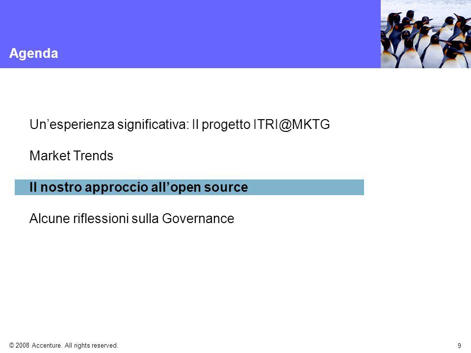 © 2008 Accenture. All rights reserved. 9 Agenda Unesperienza significativa: Il progetto ITRI@MKTG Market Trends Il nostro approccio allopen source Alc