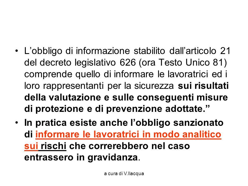 a cura di V.Ilacqua Lobbligo di informazione stabilito dallarticolo 21 del decreto legislativo 626 (ora Testo Unico 81) comprende quello di informare