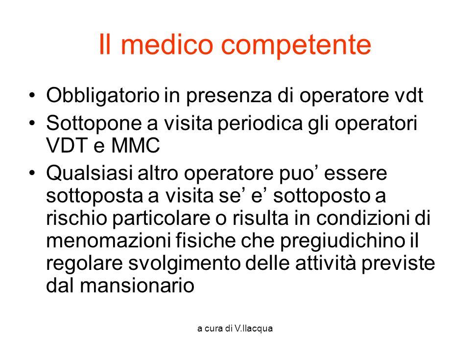 a cura di V.Ilacqua Il medico competente Obbligatorio in presenza di operatore vdt Sottopone a visita periodica gli operatori VDT e MMC Qualsiasi altr