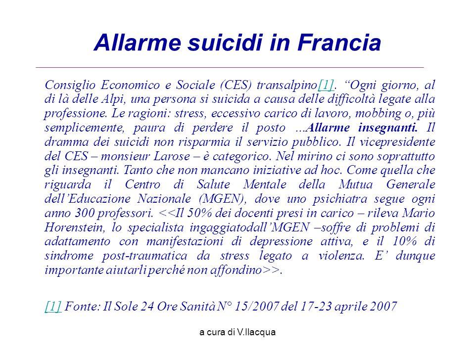 a cura di V.Ilacqua Allarme suicidi in Francia Consiglio Economico e Sociale (CES) transalpino[1]. Ogni giorno, al di là delle Alpi, una persona si su