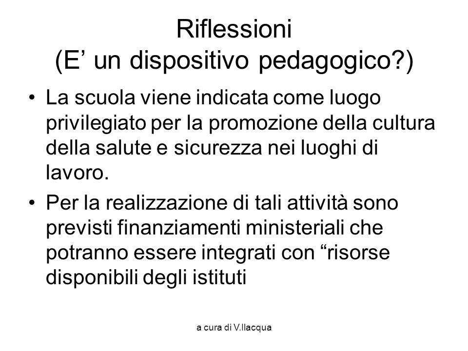 a cura di V.Ilacqua Riflessioni (E un dispositivo pedagogico?) La scuola viene indicata come luogo privilegiato per la promozione della cultura della