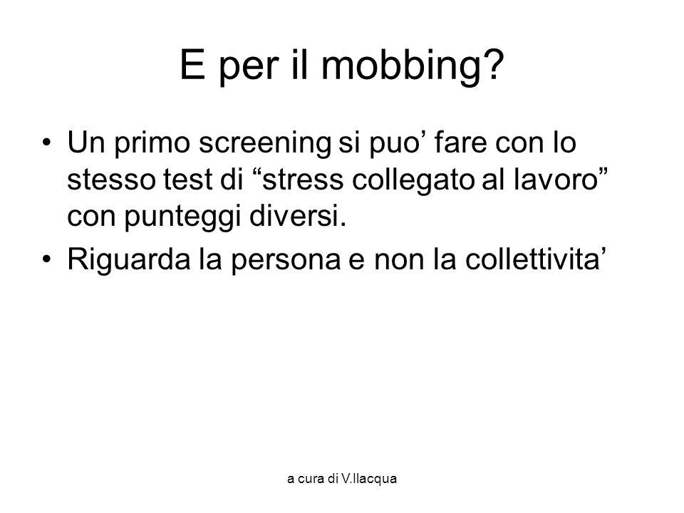 a cura di V.Ilacqua E per il mobbing? Un primo screening si puo fare con lo stesso test di stress collegato al lavoro con punteggi diversi. Riguarda l