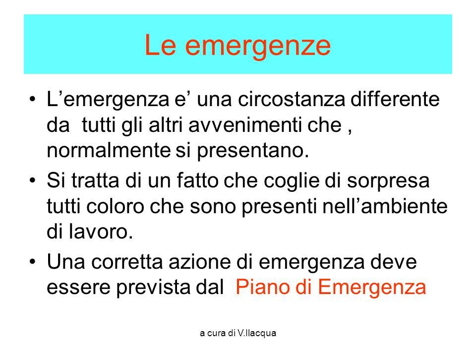 a cura di V.Ilacqua Le emergenze Lemergenza e una circostanza differente da tutti gli altri avvenimenti che, normalmente si presentano. Si tratta di u