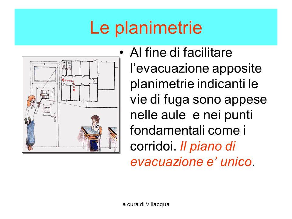 a cura di V.Ilacqua Le planimetrie Al fine di facilitare levacuazione apposite planimetrie indicanti le vie di fuga sono appese nelle aule e nei punti