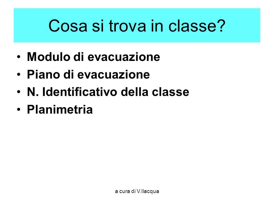 a cura di V.Ilacqua Cosa si trova in classe? Modulo di evacuazione Piano di evacuazione N. Identificativo della classe Planimetria