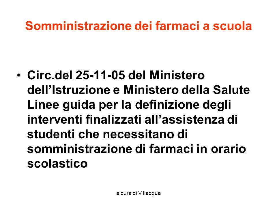 a cura di V.Ilacqua Somministrazione dei farmaci a scuola Circ.del 25-11-05 del Ministero dellIstruzione e Ministero della Salute Linee guida per la d