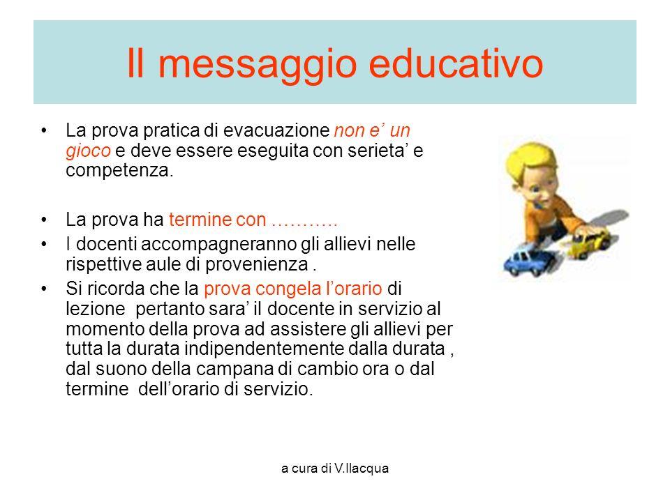 a cura di V.Ilacqua Il messaggio educativo La prova pratica di evacuazione non e un gioco e deve essere eseguita con serieta e competenza. La prova ha