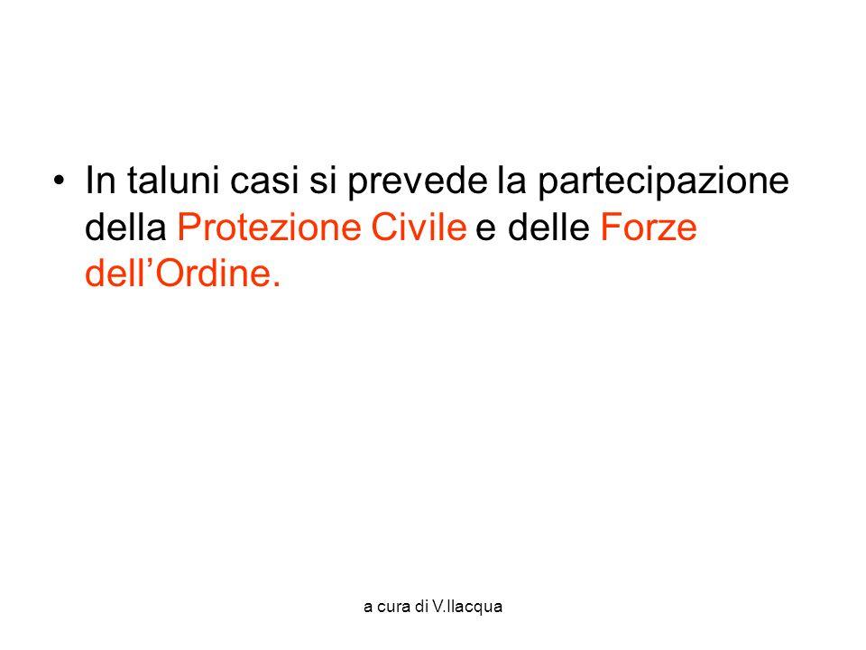 a cura di V.Ilacqua In taluni casi si prevede la partecipazione della Protezione Civile e delle Forze dellOrdine.