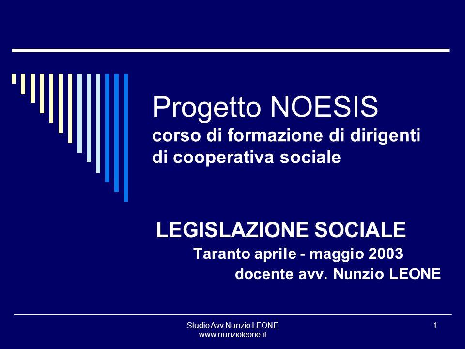 Studio Avv.Nunzio LEONE www.nunzioleone.it 1 Progetto NOESIS corso di formazione di dirigenti di cooperativa sociale LEGISLAZIONE SOCIALE Taranto apri