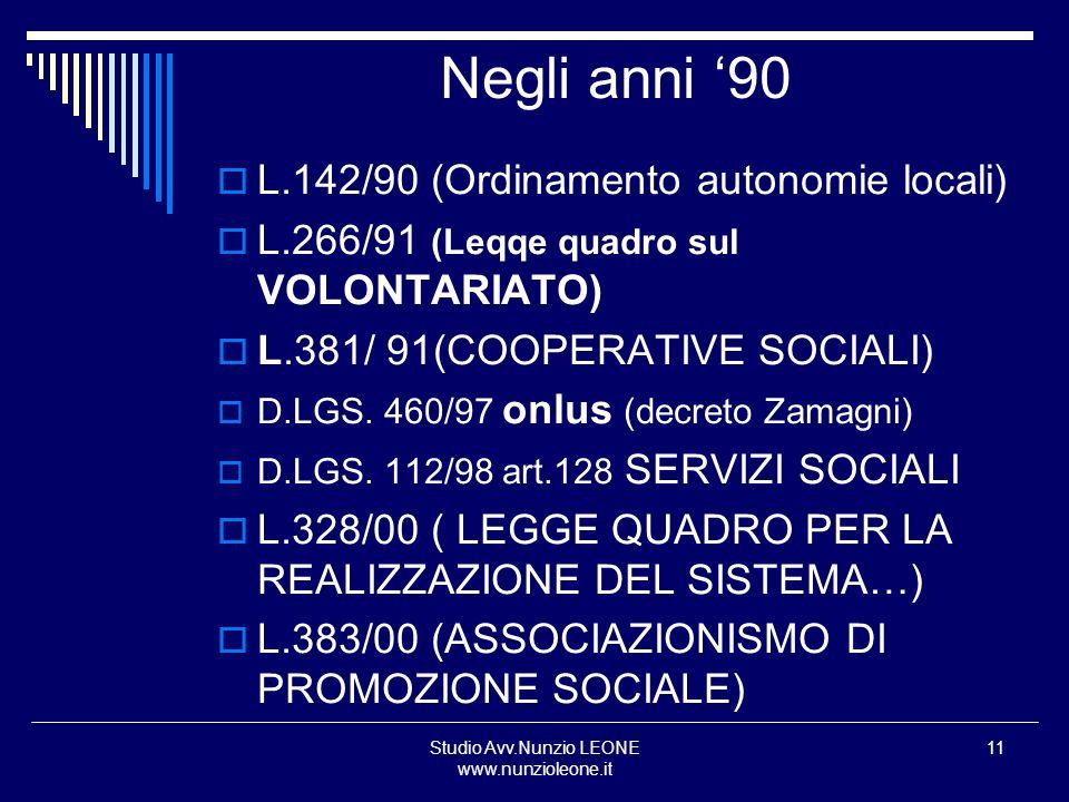 Studio Avv.Nunzio LEONE www.nunzioleone.it 11 Negli anni 90 L.142/90 (Ordinamento autonomie locali) L.266/91 (Leqqe quadro sul VOLONTARIATO) L.381/ 91
