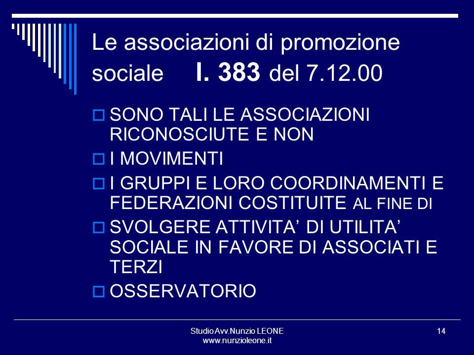 Studio Avv.Nunzio LEONE www.nunzioleone.it 14 Le associazioni di promozione sociale l. 383 del 7.12.00 SONO TALI LE ASSOCIAZIONI RICONOSCIUTE E NON I