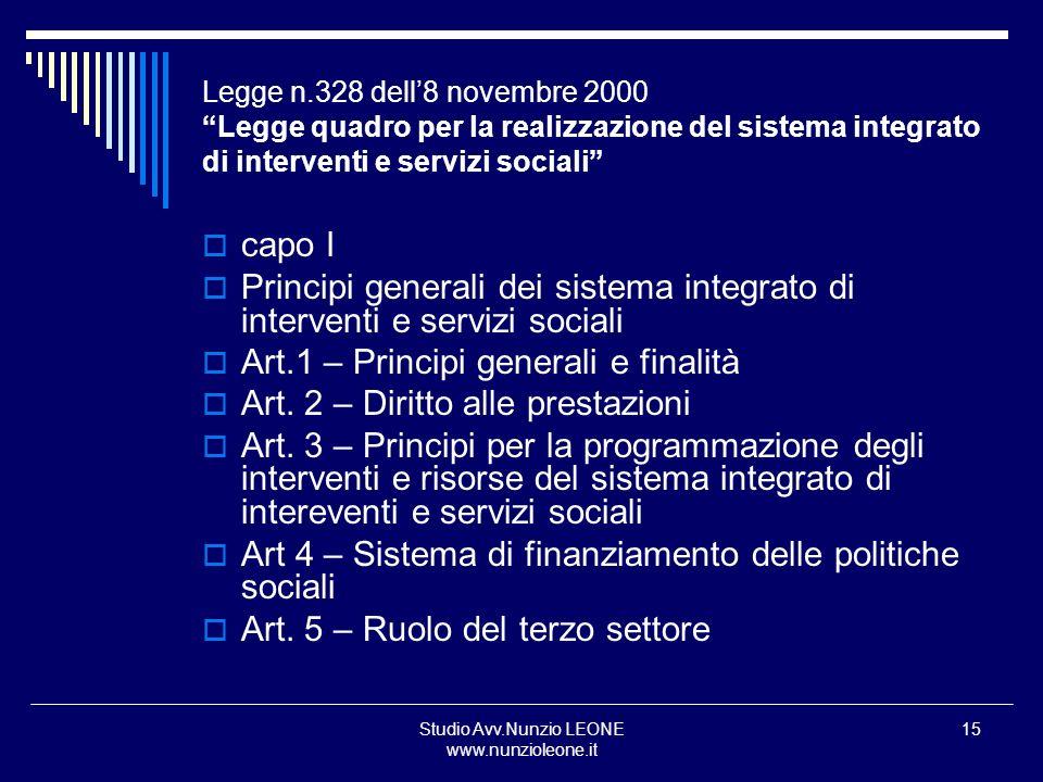 Studio Avv.Nunzio LEONE www.nunzioleone.it 15 Legge n.328 dell8 novembre 2000 Legge quadro per la realizzazione del sistema integrato di interventi e