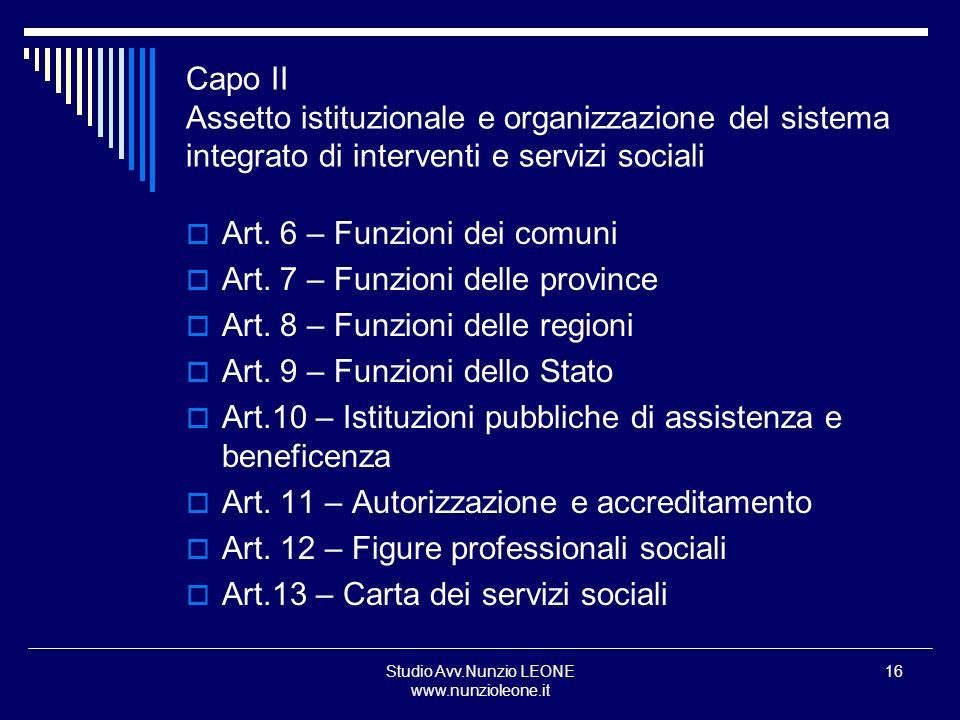 Studio Avv.Nunzio LEONE www.nunzioleone.it 16 Capo II Assetto istituzionale e organizzazione del sistema integrato di interventi e servizi sociali Art