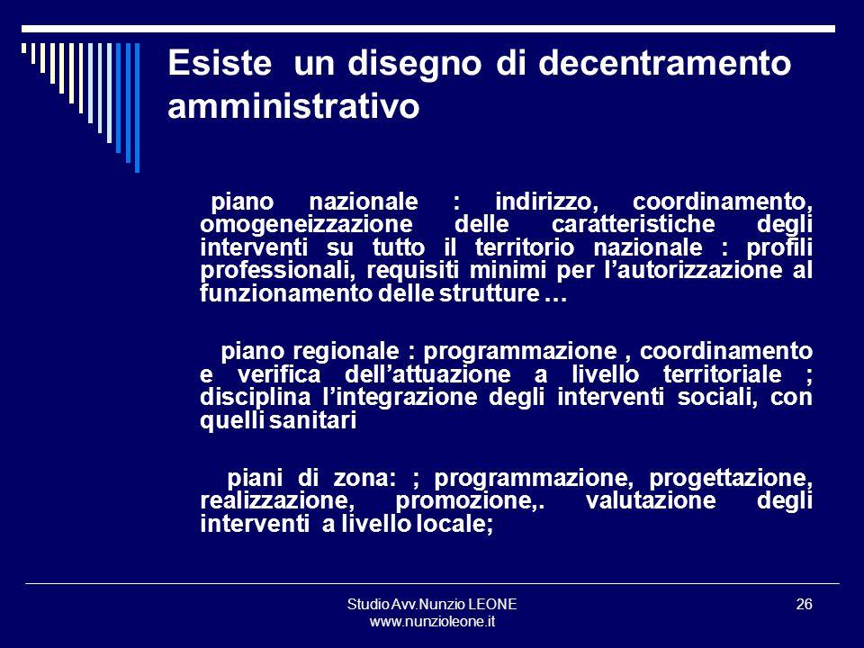 Studio Avv.Nunzio LEONE www.nunzioleone.it 26 Esiste un disegno di decentramento amministrativo piano nazionale : indirizzo, coordinamento, omogeneizz