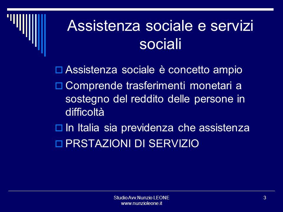 Studio Avv.Nunzio LEONE www.nunzioleone.it 3 Assistenza sociale e servizi sociali Assistenza sociale è concetto ampio Comprende trasferimenti monetari