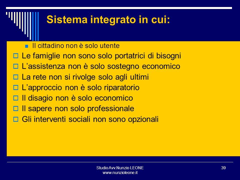 Studio Avv.Nunzio LEONE www.nunzioleone.it 39 Sistema integrato in cui: Il cittadino non è solo utente Le famiglie non sono solo portatrici di bisogni