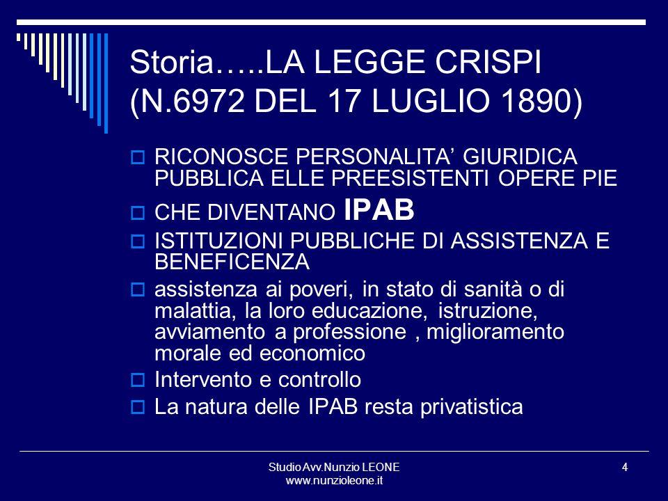 Studio Avv.Nunzio LEONE www.nunzioleone.it 5 La legge Giolitti (nel 1904) Integrazione e sistemazione Legge CRISPI Strumento diretto di intervento dello Stato nel campo dellassistenza criteri BENEFICENZA COME ASPETTO DELLA COMPLESSA SITUAZIONE SOCIALE DIRITTO DEL POVERO E DOVERE DELLA SOCIETA A SOPPERIRLO ASSSITENZA PRIVATA NON SOLO CONTROLLATA MA COORDINATA ED INTEGRATA CON ASSISTENZA PUBBLICA