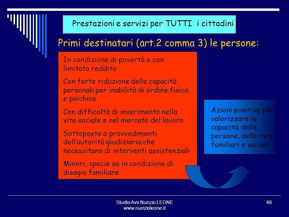 Studio Avv.Nunzio LEONE www.nunzioleone.it 48 Prestazioni e servizi per TUTTI i cittadini Primi destinatari (art.2 comma 3) le persone: In condizione