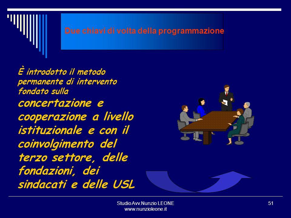Studio Avv.Nunzio LEONE www.nunzioleone.it 51 Due chiavi di volta della programmazione È introdotto il metodo permanente di intervento fondato sulla c