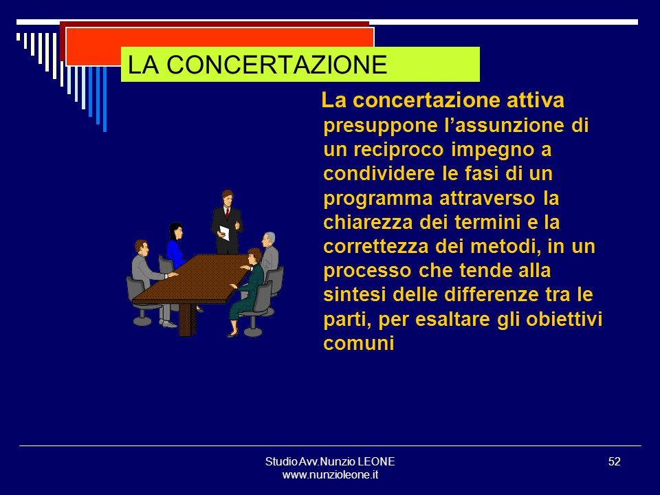 Studio Avv.Nunzio LEONE www.nunzioleone.it 52 LA CONCERTAZIONE La concertazione attiva presuppone lassunzione di un reciproco impegno a condividere le