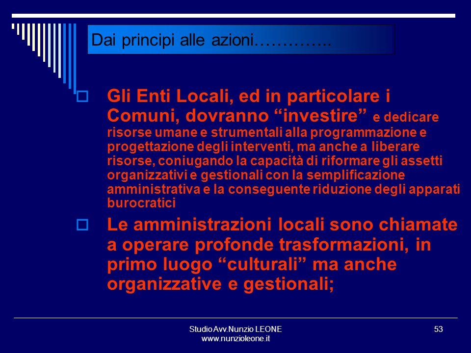 Studio Avv.Nunzio LEONE www.nunzioleone.it 53 Dai principi alle azioni………….. Gli Enti Locali, ed in particolare i Comuni, dovranno investire e dedicar