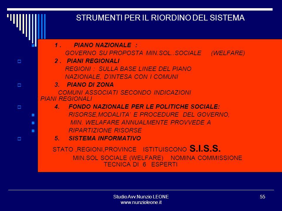 Studio Avv.Nunzio LEONE www.nunzioleone.it 55 STRUMENTI PER IL RIORDINO DEL SISTEMA 1. PIANO NAZIONALE : GOVERNO SU PROPOSTA MIN.SOL..SOCIALE (WELFARE