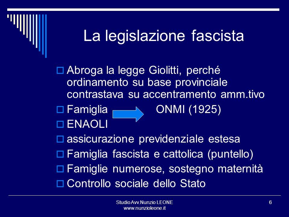 Studio Avv.Nunzio LEONE www.nunzioleone.it 6 La legislazione fascista Abroga la legge Giolitti, perché ordinamento su base provinciale contrastava su