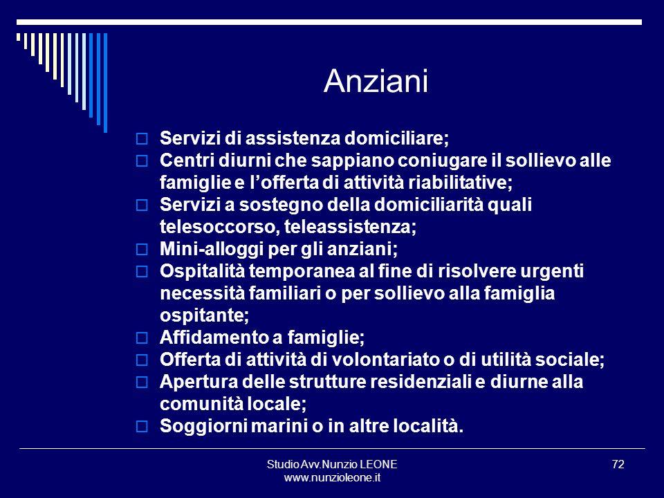 Studio Avv.Nunzio LEONE www.nunzioleone.it 72 Anziani Servizi di assistenza domiciliare; Centri diurni che sappiano coniugare il sollievo alle famigli