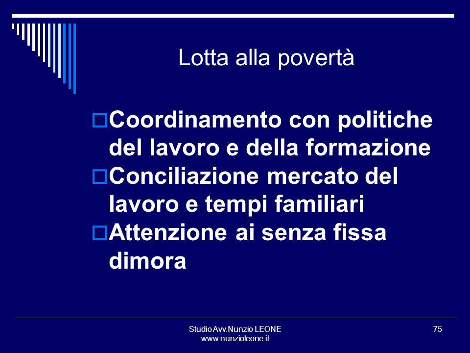 Studio Avv.Nunzio LEONE www.nunzioleone.it 75 Lotta alla povertà Coordinamento con politiche del lavoro e della formazione Conciliazione mercato del l