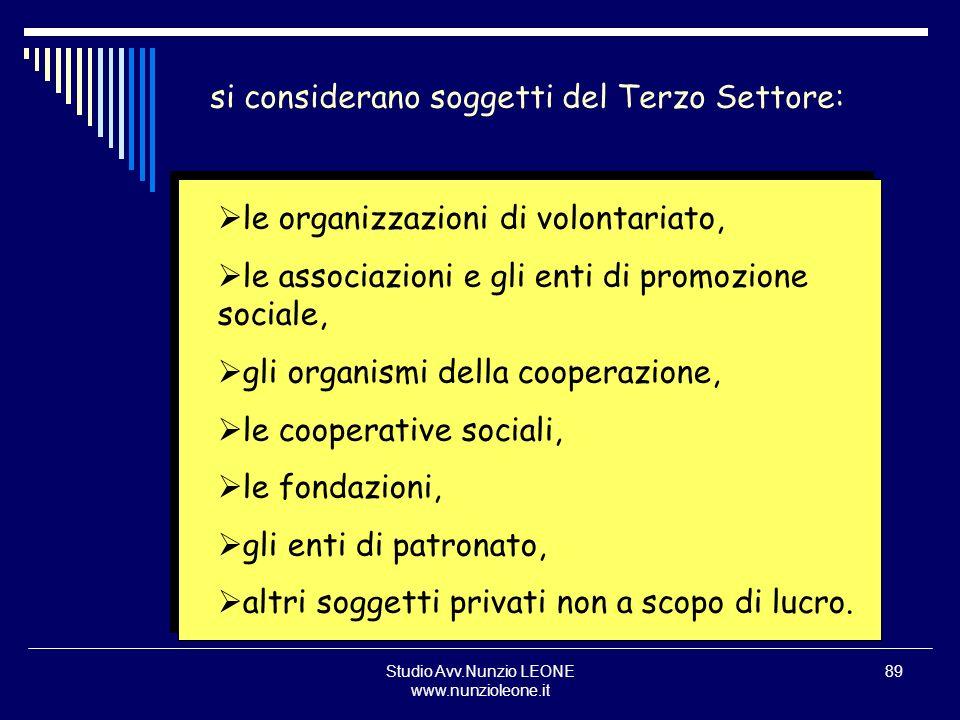 Studio Avv.Nunzio LEONE www.nunzioleone.it 89 si considerano soggetti del Terzo Settore: le organizzazioni di volontariato, le associazioni e gli enti