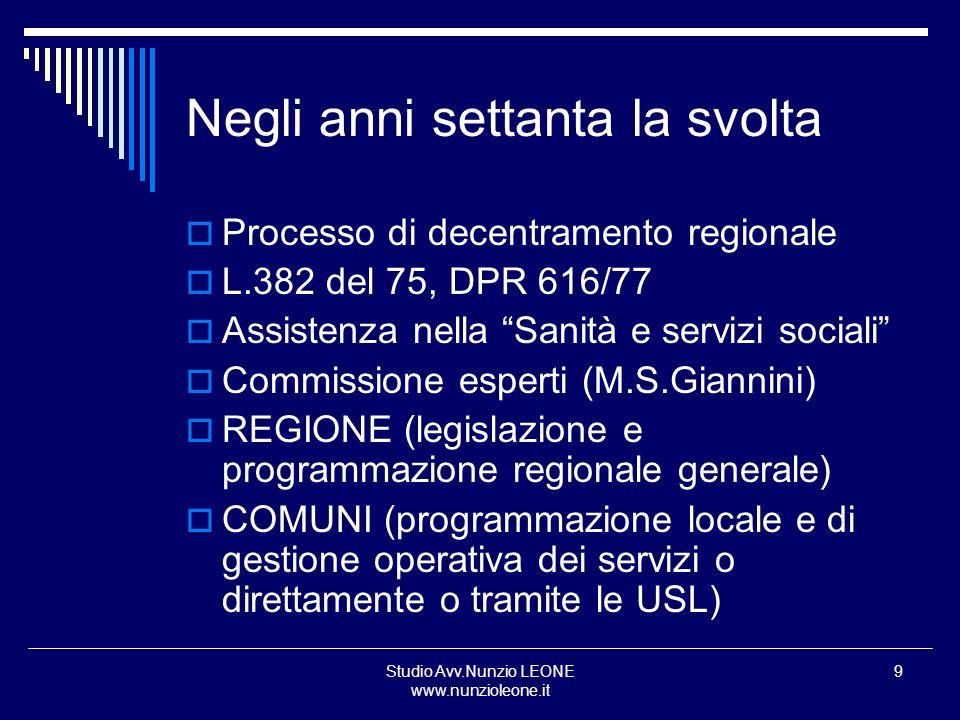 Studio Avv.Nunzio LEONE www.nunzioleone.it 9 Negli anni settanta la svolta Processo di decentramento regionale L.382 del 75, DPR 616/77 Assistenza nel