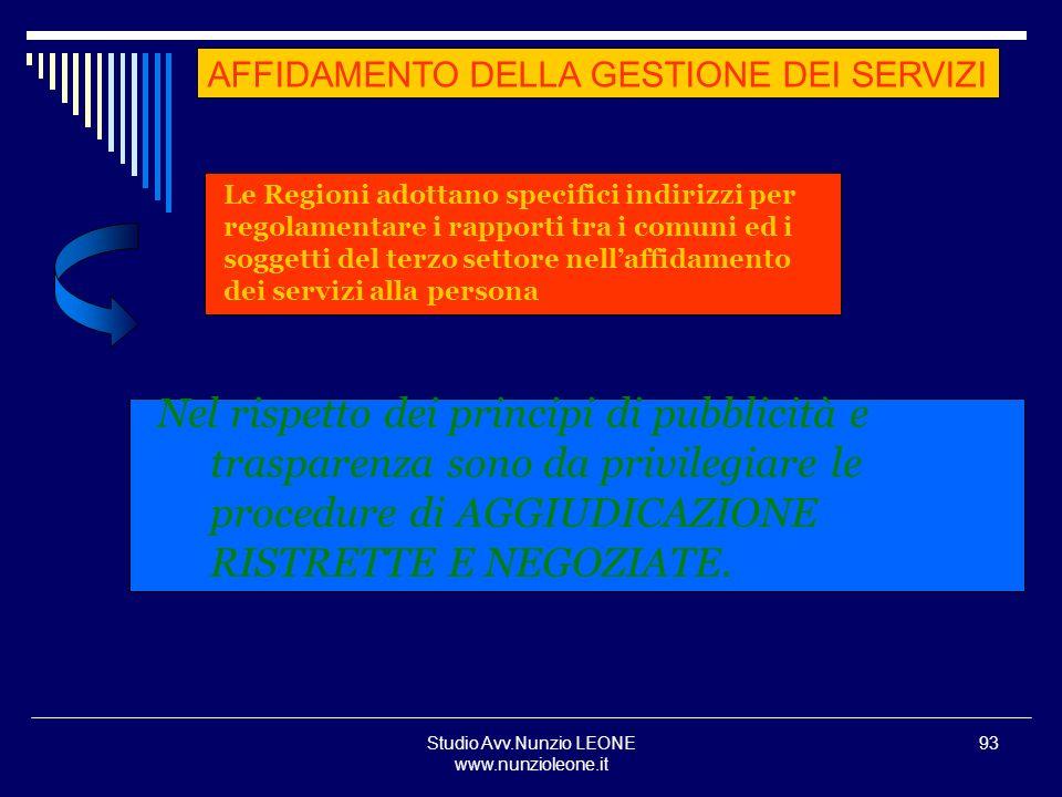 Studio Avv.Nunzio LEONE www.nunzioleone.it 93 Le Regioni adottano specifici indirizzi per regolamentare i rapporti tra i comuni ed i soggetti del terz