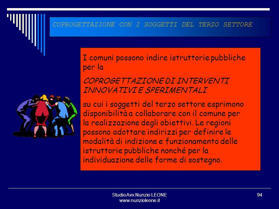 Studio Avv.Nunzio LEONE www.nunzioleone.it 94 COPROGETTAZIONE CON I SOGGETTI DEL TERZO SETTORE I comuni possono indire istruttorie pubbliche per la CO