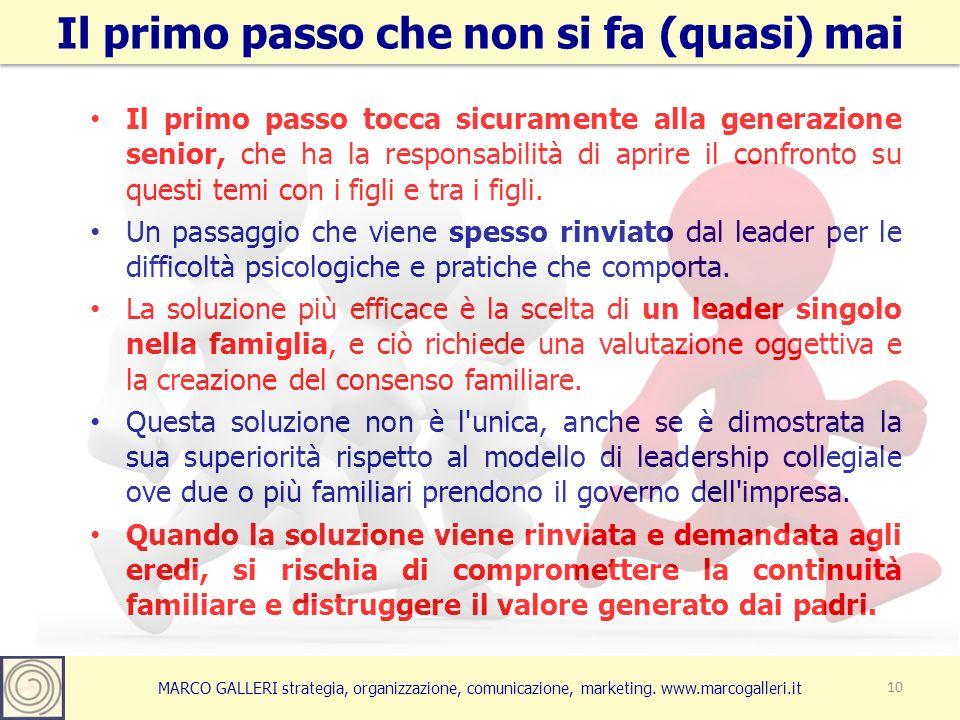 MARCO GALLERI strategia, organizzazione, comunicazione, marketing. www.marcogalleri.it Il primo passo tocca sicuramente alla generazione senior, che h