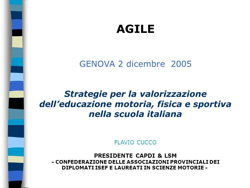 AGILE GENOVA 2 dicembre 2005 Strategie per la valorizzazione delleducazione motoria, fisica e sportiva nella scuola italiana FLAVIO CUCCO PRESIDENTE CAPDI & LSM - CONFEDERAZIONE DELLE ASSOCIAZIONI PROVINCIALI DEI DIPLOMATI ISEF E LAUREATI IN SCIENZE MOTORIE -