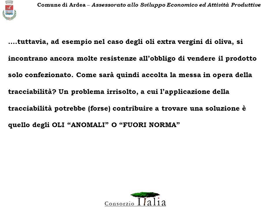 FONTI NORMATIVE RIGUARDANTI L OLIO DI OLIVA UNIONE EUROPEA REGOLAMENTI CE 136/66, 2677/85, 1915/87, 2568/91, 1683/92,1513/01, 455/01, 796/02, 1019/02,1989/03 CONSIGLIO OLEICOLO INTERNAZIONALE (IOOC) ACCORDO - NORMA (REVISIONATA UNA VOLTA ALLANNO) CODEX ALIMENTARIUS (FAO OMS) ACCORDO - NORMA (REVISIONATA OGNI TRE ANNI) Comune di Ardea – Assessorato allo Sviluppo Economico ed Attività Produttive