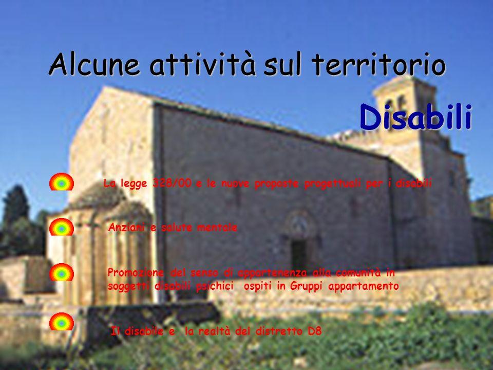 Alcune attività sul territorio Disabili Il disabile e la realtà del distretto D8 La legge 328/00 e le nuove proposte progettuali per i disabili Promoz