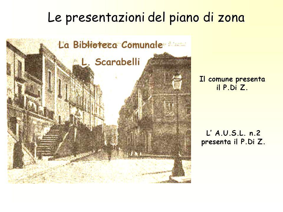 Le presentazioni del piano di zona La Biblioteca Comunale L. Scarabelli Il comune presenta il P.Di Z. L A.U.S.L. n.2 presenta il P.Di Z.