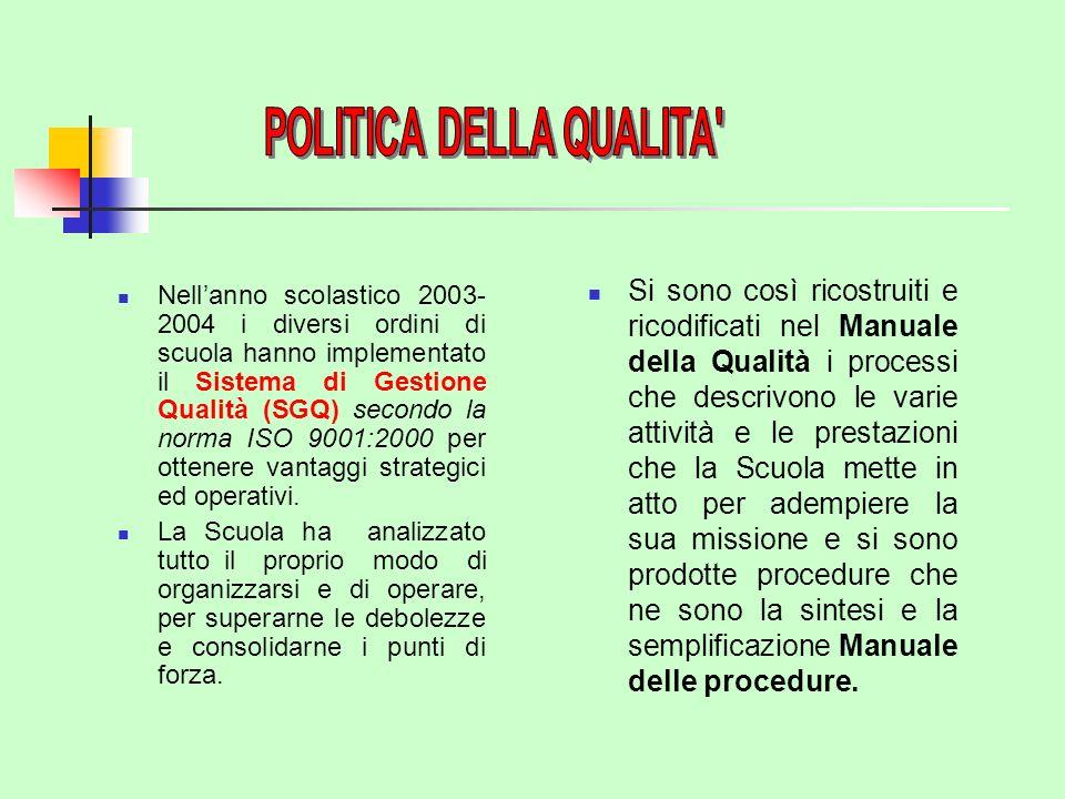 Nellanno scolastico 2003- 2004 i diversi ordini di scuola hanno implementato il Sistema di Gestione Qualità (SGQ) secondo la norma ISO 9001:2000 per ottenere vantaggi strategici ed operativi.