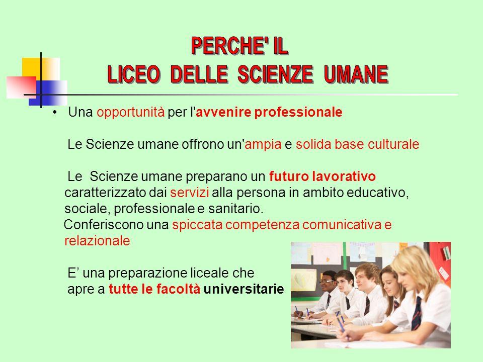 Una opportunità per l avvenire professionale Le Scienze umane offrono un ampia e solida base culturale Le Scienze umane preparano un futuro lavorativo caratterizzato dai servizi alla persona in ambito educativo, sociale, professionale e sanitario.