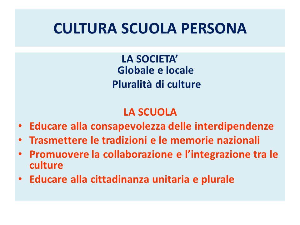 CULTURA SCUOLA PERSONA LA SOCIETA Globale e locale Pluralità di culture LA SCUOLA Educare alla consapevolezza delle interdipendenze Trasmettere le tra